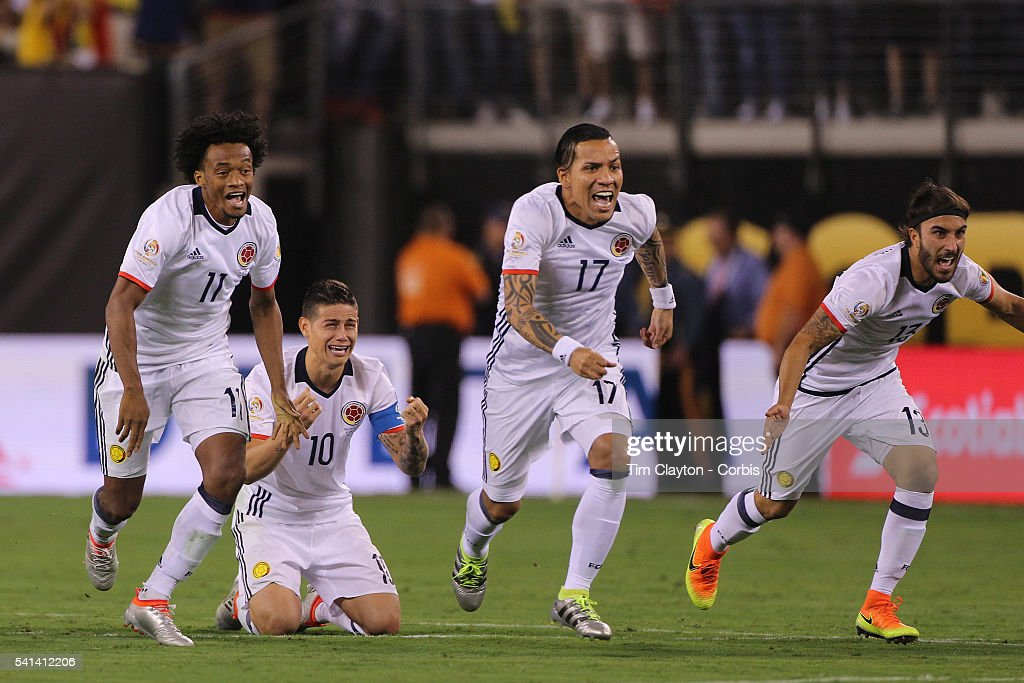 Colombia players react to Peru's final penalty miss to win the penalty shoot out, from left, Juan Cuadrado #11, <a gi-track='captionPersonalityLinkClicked' href=/galleries/search?phrase=James+Rodriguez&family=editorial&specificpeople=4422074 ng-click='$event.stopPropagation()'>James Rodriguez</a> #10, Dayro Moreno #17 and Sebastian Perez #13 of Colombia during the Colombia Vs Peru Quarterfinal match of the Copa America Centenario USA 2016 Tournament at MetLife Stadium on June 17, 2016 in East Rutherford, New Jersey.