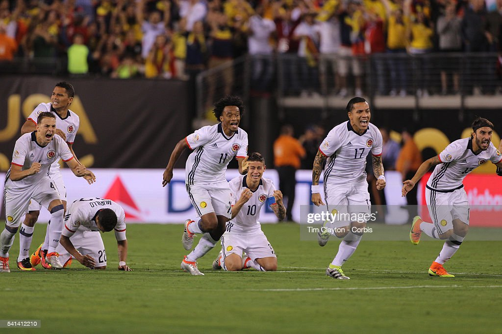 Colombia players react to Peru's final penalty miss to win the penalty shoot out, from left, <a gi-track='captionPersonalityLinkClicked' href=/galleries/search?phrase=Santiago+Arias&family=editorial&specificpeople=6506898 ng-click='$event.stopPropagation()'>Santiago Arias</a> #4, <a gi-track='captionPersonalityLinkClicked' href=/galleries/search?phrase=Carlos+Bacca&family=editorial&specificpeople=6724246 ng-click='$event.stopPropagation()'>Carlos Bacca</a> #7, <a gi-track='captionPersonalityLinkClicked' href=/galleries/search?phrase=Jeison+Murillo&family=editorial&specificpeople=6506519 ng-click='$event.stopPropagation()'>Jeison Murillo</a> #22, Juan Cuadrado #11, <a gi-track='captionPersonalityLinkClicked' href=/galleries/search?phrase=James+Rodriguez&family=editorial&specificpeople=4422074 ng-click='$event.stopPropagation()'>James Rodriguez</a> #10, Dayro Moreno #17 and Sebastian Perez #13 of Colombia during the Colombia Vs Peru Quarterfinal match of the Copa America Centenario USA 2016 Tournament at MetLife Stadium on June 17, 2016 in East Rutherford, New Jersey.
