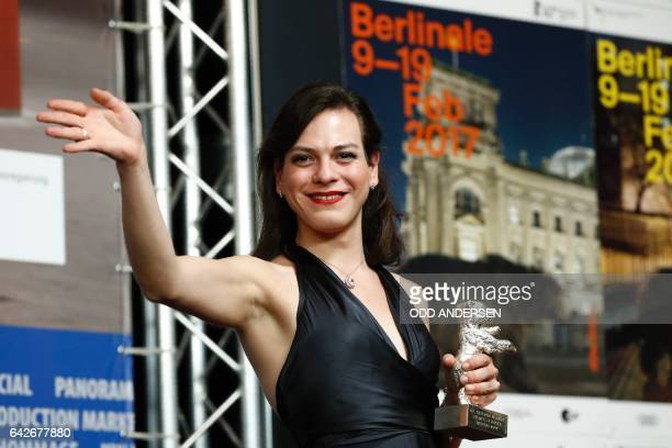 Colombian actress Daniela Vega poses at a press conference after A Fantastic Woman won the award for best screenplay at the Award Ceremony of the...