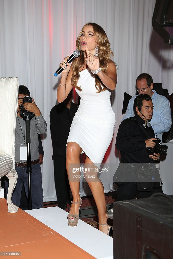 Colombian actress <a gi-track='captionPersonalityLinkClicked' href=/galleries/search?phrase=Sofia+Vergara&family=editorial&specificpeople=214702 ng-click='$event.stopPropagation()'>Sofia Vergara</a> speaks during the Ace campaign press conference at Four Seasons Hotel on June 26, 2013 in Mexico City, Mexico.
