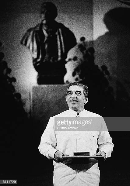 Colombian author Gabriel Garcia Marquez speaks at a podium after receiving the Nobel Prize in Literature Sweden 1982