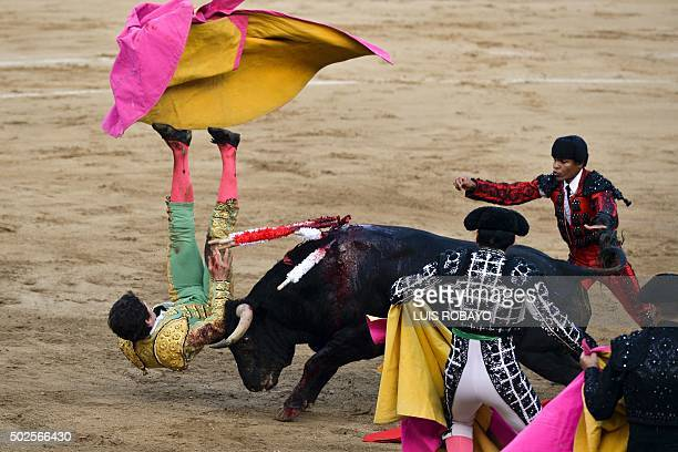 TOPSHOT Colombian bullfighter Sebastian Ritter is hit by the bull during a bullfight at the Canaveralejo bullring in Cali department of Valle del...