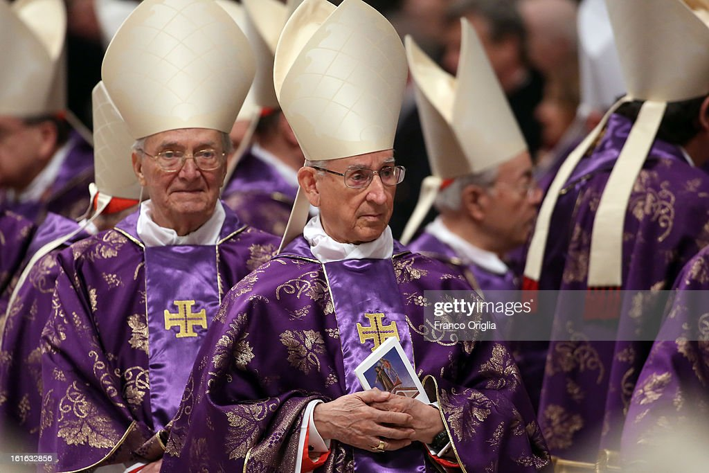 Colombian cardinal Castrillon Hoyos (C) attends the Ash Wednesday service held by Pope Benedict XVI at St. Peter's Basilica on February 13, 2013 in Vatican City, Vatican. Ash Wednesday opens the liturgical 40-day period of Lent, a time of prayer, fasting, penitence and alms giving leading up to Easter.
