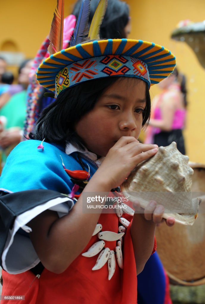 A Colombian child of Inga and Kamentsa tribes, from Sibundoy Valley, in Putumayo department, Colombia, celebrates the Forgiveness Carnival on February 24, 2009 in Bogota. AFP PHOTO/Mauricio DUEÑAS /