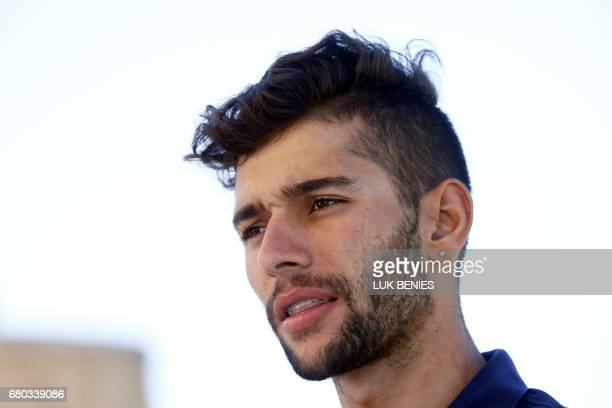 Colombian cyclist Fernando Gaviria of team QuickStep Floors poses with the Pink jersey of overall leader during the 1st restday of 100th Giro...