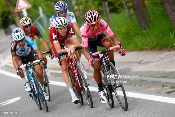 Colombian cyclist Nairo Quintana of Movistar team French cyclist Thibaut Pinot of Team FDJ Russian cyclist Ilnur Zakarin of Katusha Alpecin team...
