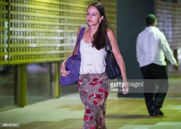 Colombian FARCEP leftist guerrillas' fighter Tanja Nijmeijer arrives at Convention Palace in Havana for the peace talks with the Colombian government...