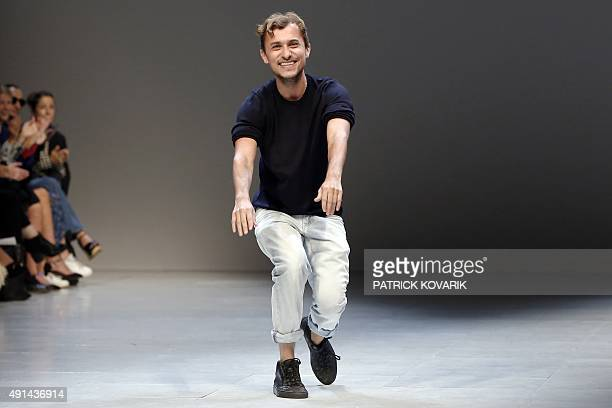 Colombian fashion designer Esteban Cortazar acknowledges the public at the end of his 2016 Spring/Summer readytowear collection fashion show on...