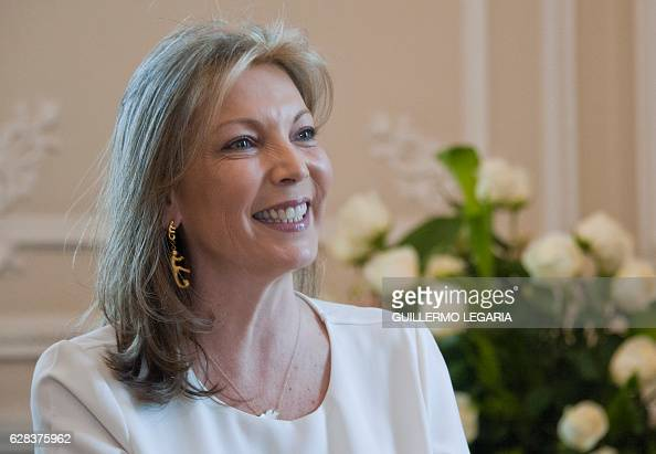 Colombian First Lady Maria Clemencia Rodriguez smiles during an interview with AFP at the Casa de Narino presidential palace in Bogota Colombia on...
