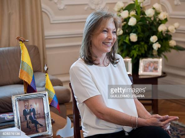 Colombian First Lady Maria Clemencia Rodriguez speaks during an interview with AFP at the Casa de Narino presidential palace in Bogota Colombia on...