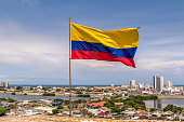 Colombian Flag over city of Cartagena de Indias, Colombia