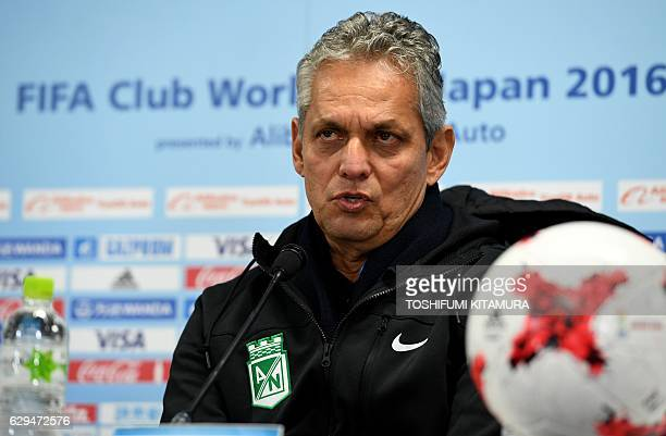 Colombian football team Atletico Nacional head coach Reinaldo Rueda speaks during his team's official press conference for the Club World Cup at the...