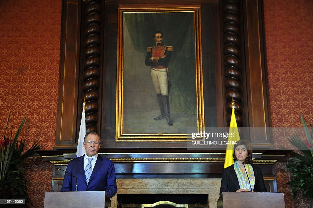 Colombian Foreing Minister <a gi-track='captionPersonalityLinkClicked' href=/galleries/search?phrase=Maria+Angela+Holguin&family=editorial&specificpeople=7133255 ng-click='$event.stopPropagation()'>Maria Angela Holguin</a> (R) and her Russian counterpart <a gi-track='captionPersonalityLinkClicked' href=/galleries/search?phrase=Sergei+Lavrov&family=editorial&specificpeople=542406 ng-click='$event.stopPropagation()'>Sergei Lavrov</a> take part in a joint press conference after a meeting at San Carlos Palace on March 24, 2015 in Bogota.