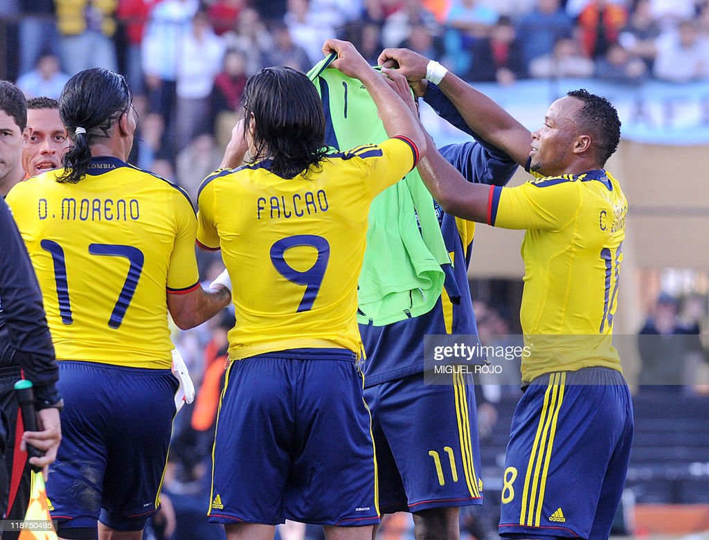 L R Colombian forward Dayro Moreno fo