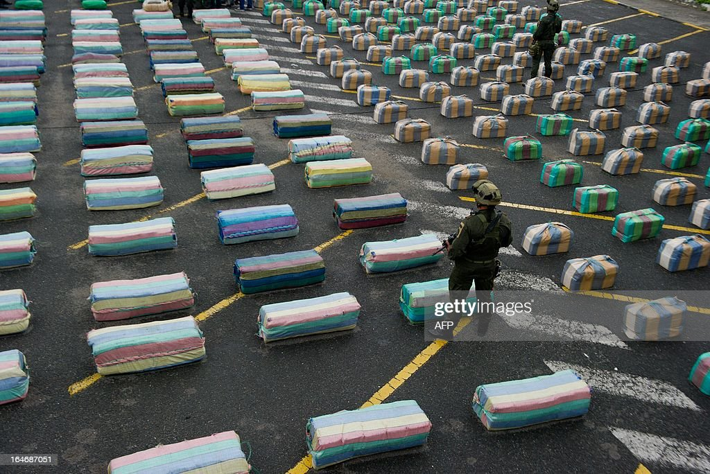 A Colombian member of a police anti-drugs unit stands guard next to marijuana packages displayed to the press, on March 26, 2013, in Cali, department of Valle del Cauca, Colombia. Police seized 7.7 tons of marijuana during the operation 'Republica 39', carried out between the municipalities of Tulua and Buga, who belonged to the Revolutionary Armed Forces of Colombia (FARC) guerrillas. The Director General of the National Police of Colombia, General Jose Roberto Leon Riano, said that 80 tons of marijuana and 36 tons of cocaine have been seized so far this year. AFP PHOTO/Luis ROBAYO