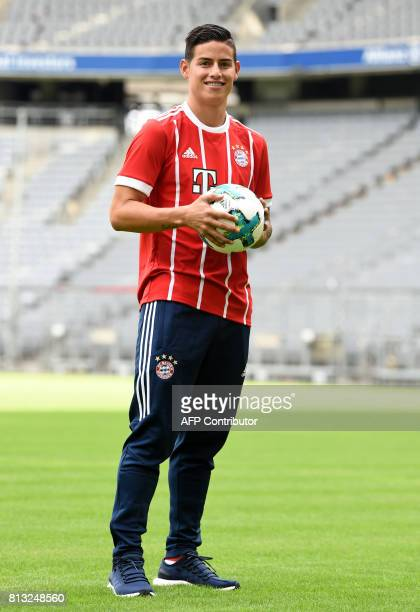 Colombian midfielder James Rodriguez poses during an official presentation in Munich southern Germany on July 12 2017 James Rodriguez is on a twoyear...