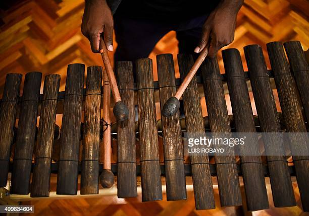 Colombian musician Enrique Riascos of the Herencia de Timbiqui music band plays the Marimba de Chonta in a recording studio in Cali Colombia on...