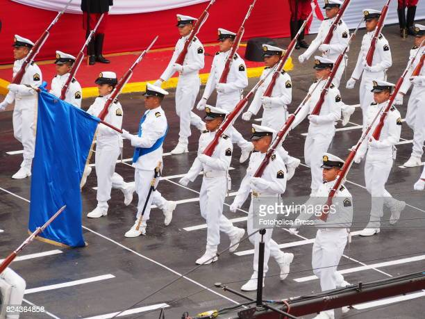 Colombian navy detachment marching on Military parade commemorating 196th anniversary of Peruvian independence
