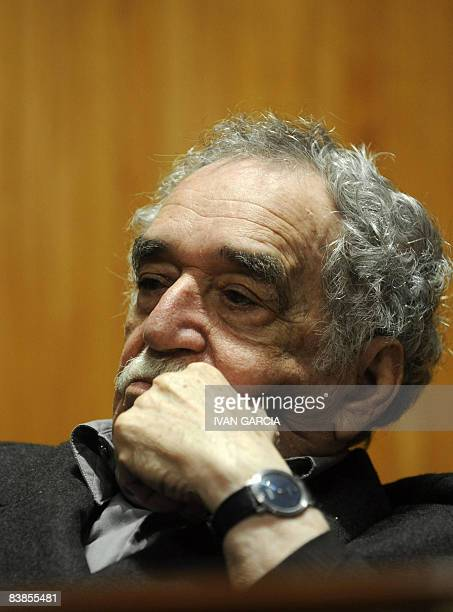 Colombian Nobel Prize for Literature 1982 Gabriel Garcia Marquez takes part in a forum organized by the Julio Cortazar department of the University...