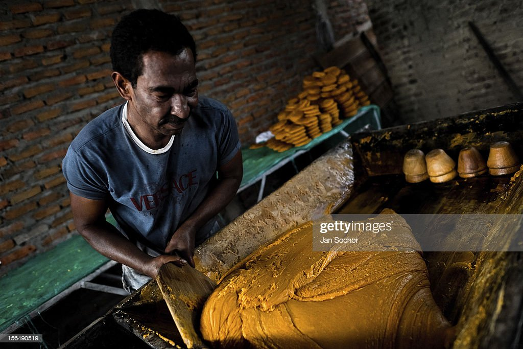 A Colombian peasant mixes a hot mass of sugar cane juice during the processing of panela in a rural sugar cane mill (trapiche) on 30 May 2012 in Santa Ana, Valle del Cauca, Colombia. Panela, a solid block of raw, unrefined sugar, is made by cooking and evaporation of the sugar cane juice into a golden, sticky syrup which is then poured into the wooden molds and allowed to solidify. Having the taste like a cross between molasses and brown sugar, panela is served as a hot or cold infusion called aguapanela. Due to the large amounts of proteins, vitamins and minerals and thus, panela is believed to have healing powers. Cheaper than sugar, it is consumed by the majority of Colombians and it is a major source of calories for children from families with low socioeconomic status. With more than 70,000 farms that cultivate sugarcane for mills, panela production is an important economic activity in the Colombian countryside, employing around 350,000 people and being the second largest source of jobs after agricultural coffee production.