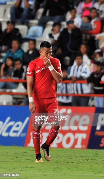 Colombian player Fernando Uribe of Toluca celebrates after scoring during the Mexican Apertura tournament match against Pachuca at the Hidalgo...