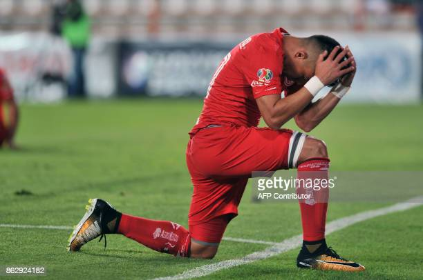Colombian player Fernando Uribe of Toluca reacts during the Mexican Apertura tournament match against Pachuca at the Hidalgo stadium on October 18 in...