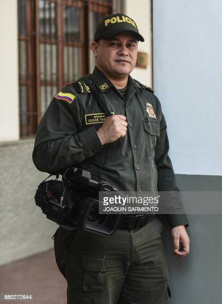 Colombian police chief Edinson Vanegas director of the documentary 'The Last Survivor' poses for a photograph at the Metropolitan Police headquarters...