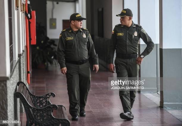 Colombian police chief Edinson Vanegas director of the documentary 'The Last Survivor' and second lieutenant Marlon Lengua talk at the Metropolitan...