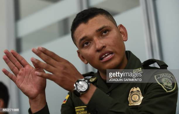 Colombian police second lieutenant Marlon Lengua takes part in an interview with AFP at the Metropolitan Police headquarters in Medellin Colombia on...