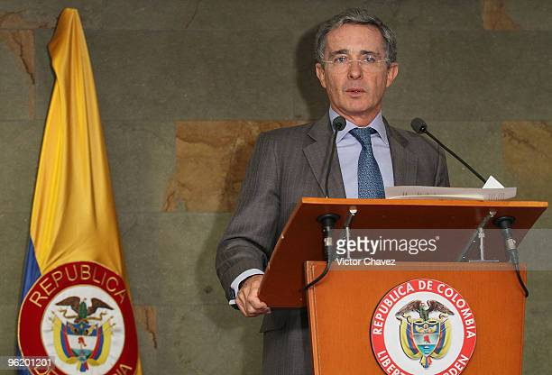 Colombian President Alvaro Uribe speaks during the first day of Colombiatex De Las Americas 2010 at Plaza Mayor on January 26 2010 in Medellin...