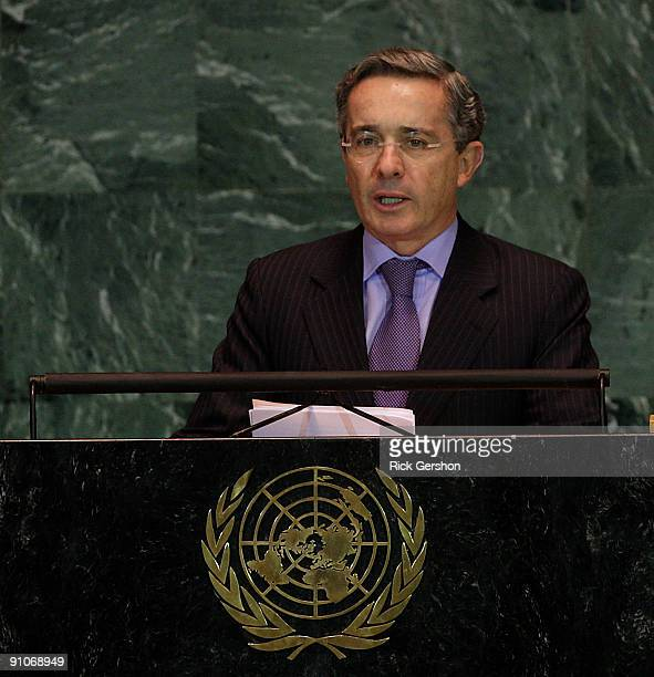 Colombian President Alvaro Uribe Velez addresses the United Nations General Assembly at the UN headquarters on September 23 2009 in New York City...