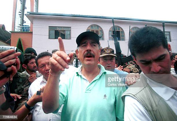Colombian President Andres Pastrana visits the former Revolutionary Armed Forces of Colombia enclave in San Vicente del Caguan February 23 2002 in...