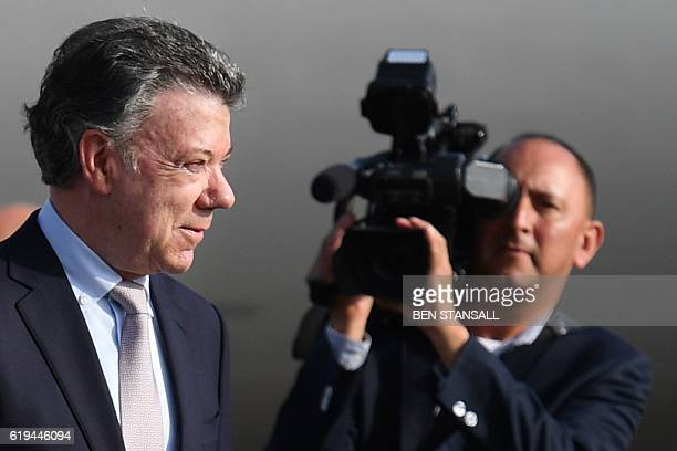 Colombian President Juan Manuel Santos arrives at London Stansted Airport in Essex north of London on October 31 2016 for a state visit to the UK the...