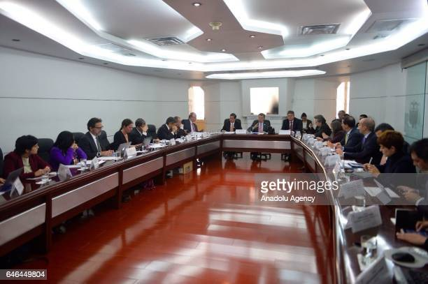 Colombian President Juan Manuel Santos chairs the third meeting of the postconflict cabinet at Casa de Narino presidential palace in Bogota Colombia...