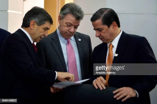 Colombian President Juan Manuel Santos Colombian Interior Minister Juan Fernando Cristo and Colombian government's postconflict commissioner Rafael...