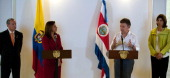 Colombian President Juan Manuel Santos speaks next to Costa Rican President Laura Chinchilla Costa Rican Foreign Minister Jose Castillo and Colombian...