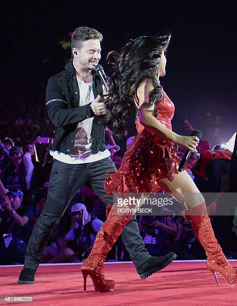 Colombian reggaeton singer J Balvin and American singer Becky G perform at the Opening Ceremony of the 2015 Special Olympics World Games at the Los...