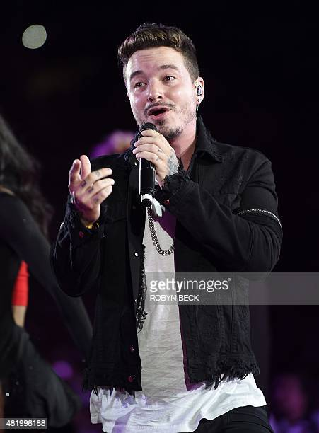Colombian reggaeton singer J Balvin performs at the Opening Ceremony of the 2015 Special Olympics World Games at the Los Angeles Memorial Coliseum...