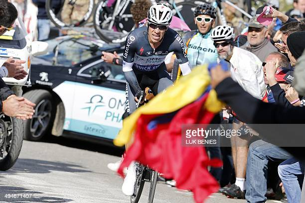 Colombian Rigoberto Uran competes during the uphill time trial in the 19th stage of the 97th Giro d'Italia Tour of Italy cycling race from Bassano...