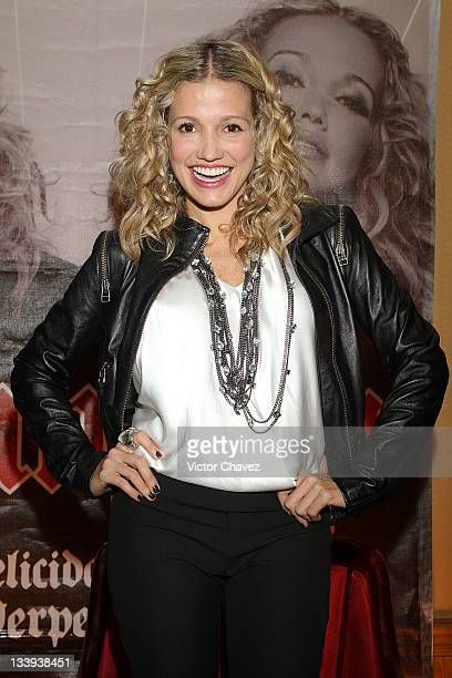 Colombian singer Fanny Lu promotes her new album 'Felicidad Y Perpetua' at the Hotel Presidente Intercontinental on November 22 2011 in Mexico City...
