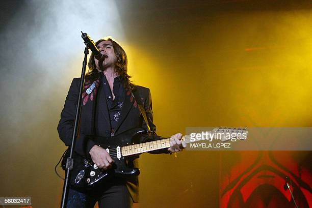 Colombian singer Juanes performs 29 October 2005 during a concert held at Ricardo Saprissa Stadium in San Jose where he sang in front of thousands of...