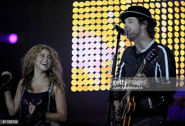 Colombian singer Shakira and Argentine Gustavo Cerati perform during a charity ALAS concert held in Buenos Aires on May 17 2008 Shakira's ALAS...