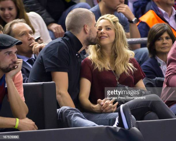 Colombian singer Shakira and boyfriend football player Gerard Pique are seen watching Panathinaikos versus Barcelona basketball match on April 25...