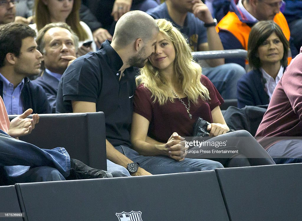 Colombian singer Shakira and boyfriend, football player Gerard Pique, are seen watching Panathinaikos versus Barcelona basketball match on April 25, 2013 in Barcelona, Spain.
