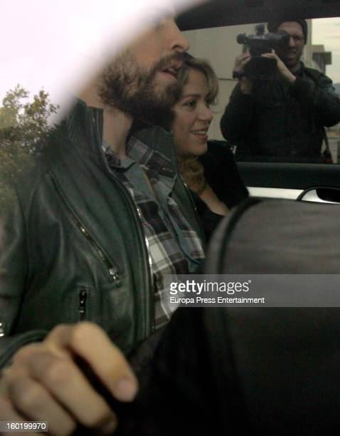 Colombian singer Shakira and football player Gerard Pique leave Teknon Hospital with their newborn son Milan Pique Mebarak on January 27 2013 in...