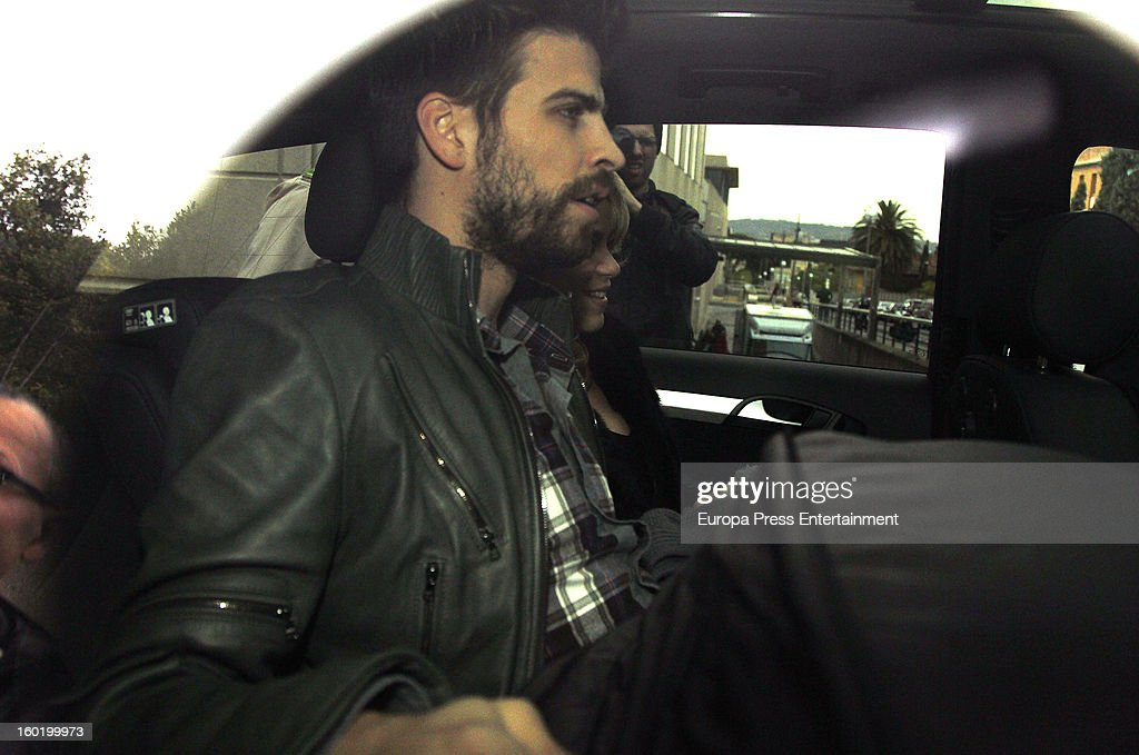 Colombian singer <a gi-track='captionPersonalityLinkClicked' href=/galleries/search?phrase=Shakira&family=editorial&specificpeople=160650 ng-click='$event.stopPropagation()'>Shakira</a> and football player Gerard Pique leave Teknon Hospital with their newborn son Milan Pique Mebarak on January 27, 2013 in Barcelona, Spain.