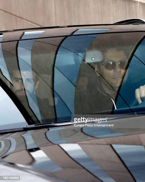 Colombian singer Shakira football player Gerard Pique and Tonino Mebarak leave Teknon Hospital with their newborn son Milan Pique Mebarak on January...