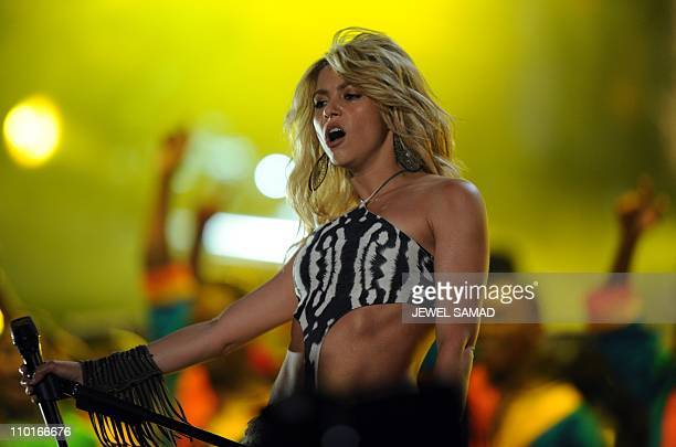 Colombian Singer Shakira performs 'Woka Woka' the FIFA World Cup 2010 anthem during the Kickoff Concert at the Orlando Stadium in Johannesburg on...