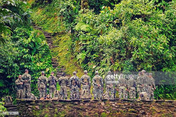 Colombian Soldiers at Ciudad Perdida in Jungle of Colombian Highlands