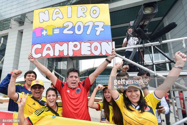Colombian supporters await for Movistar's Nairo Quintana ahead of the second stage start a 153 km Nation Towers stage from Abu Dhabi Al Maryah Island...